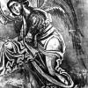 Фрска на главната апсида на која е преставен еден од двата ангела кои ја нудат својата помош на Богороца...