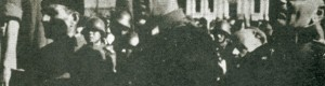 Септември 1944: Заеднички митинг на Македонските и Бугарските војски при првото ослободување на Прилеп. Началникот на ГШ на Македонските единици, ген. Павле Илиќ - Вељко и полк. Димитар Младенов.