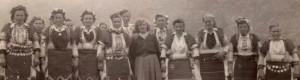 Девојки во народна носија од село Кокре, 1955 година.