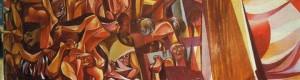 """Борко Лазески: """"11 октомври"""", акрилик во Музејот 11 Октомври, Прилеп."""