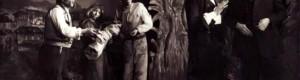 """1955/56: Сцена од претставата """"Чорбаџи Теодос"""" на НТ """"Војдан Чернодрински""""."""