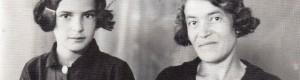 Стефанка Јосифоска, сликана како ученичка во втори клас Гимназија во Кралево, со нејзината тетка Спасија, 1938...
