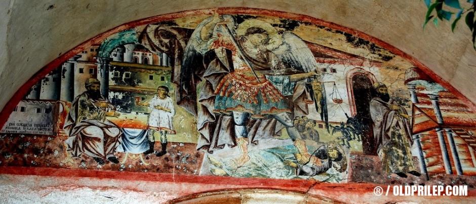 Фреска над влезот во црквата во манастирот Архангел Михаил...