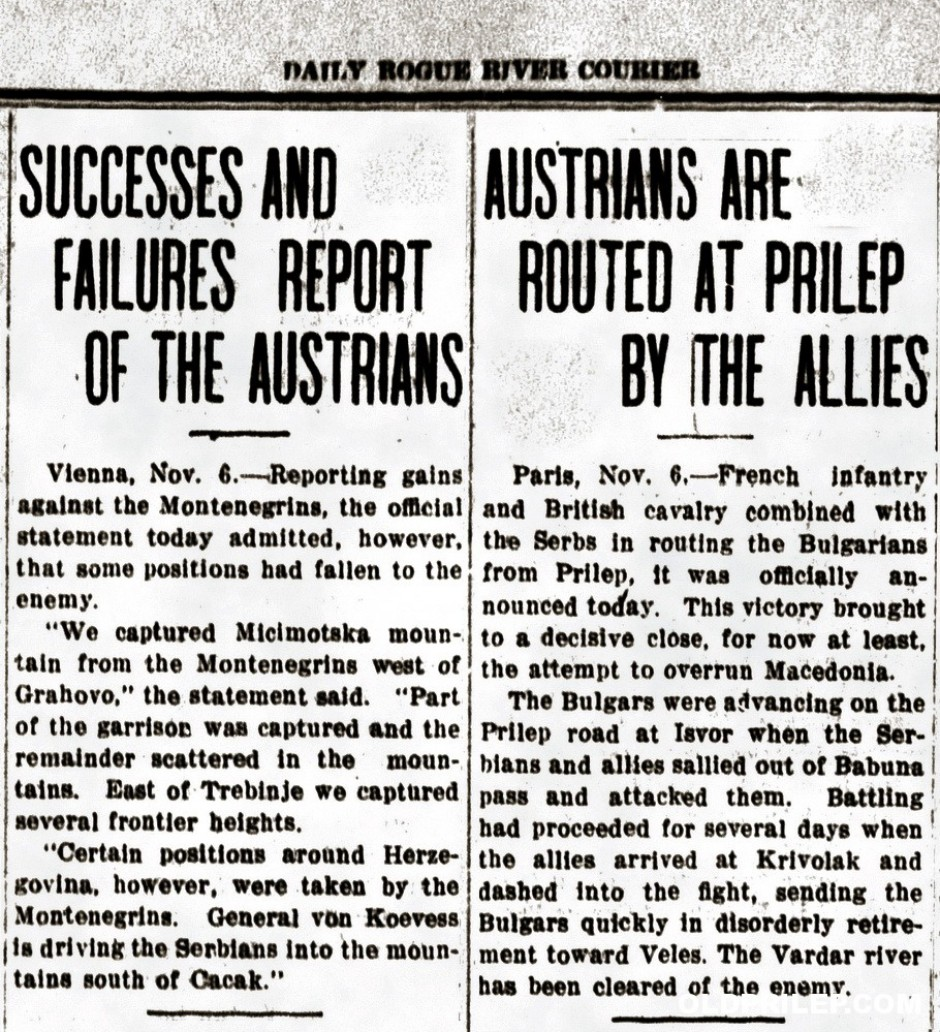 "7 ноември 1915:  ""Austrians are routed at Prilep by Allies"", ""Rogue River courier"", (САД)"