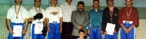 """Кик бокс клубот """"Шампион"""", освојувач на трето место на државниот натпревар во Скопје..."""