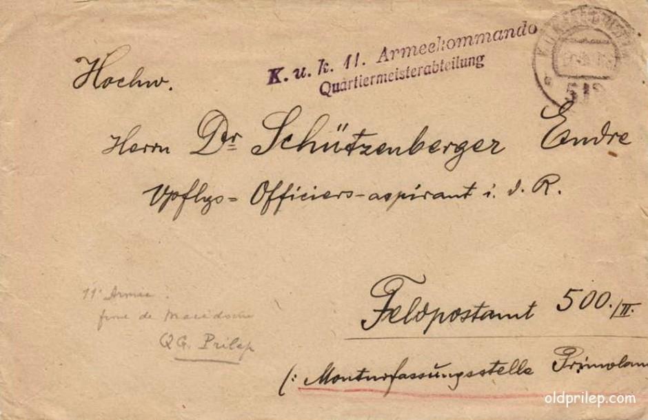 1918: Коверт од писмо на командата од 11та армија во Македонија стационирана во Прилеп...