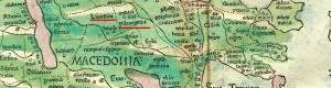 1482: Пелагонија и Линкестида на рекострукција на географска карта од Клавдиј Птоломеј од 150 гне. печатена од италијанскиот издавач Франческо Берлинхер